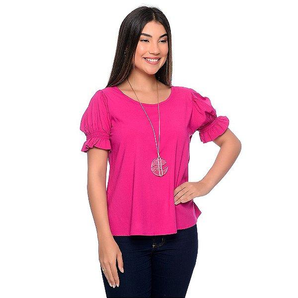 Blusa Manga Curta Bufante Decote Redondo B'Bonnie Felícia Pink