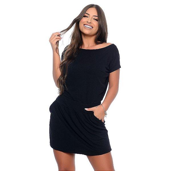Macaquinho Feminino Shorts Saia Decote Canoa B'Bonnie Preto