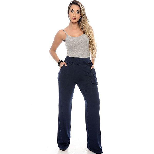 Calça Pantalona Cós largo Bolsos Laterais com Amarração B'Bonnie Azul Marinho