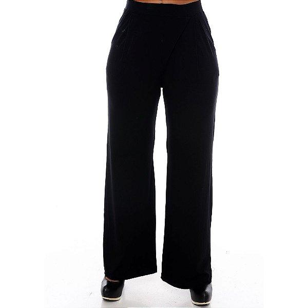 Calça Pantalona Bolsos Laterais e Detalhe Frontal B'Bonnie Preta