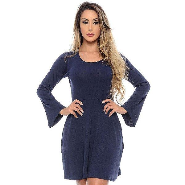 Vestido Curto Manga Longa Flare Cintura Marcada B'Bonnie Azul Marinho