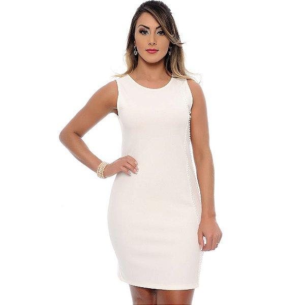 Vestido Tubinho Sem Mangas Detalhe Lateral B'Bonnie Off White