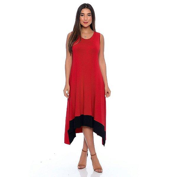 Vestido Midi com Pontas Barra Sem Mangas B'Bonnie Vermelho
