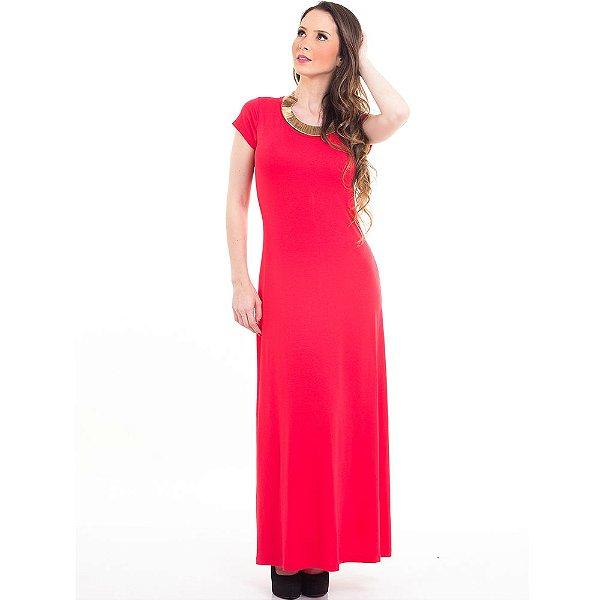 Vestido Longo Manga Curta Decote Redondo Evasê B'Bonnie Coral