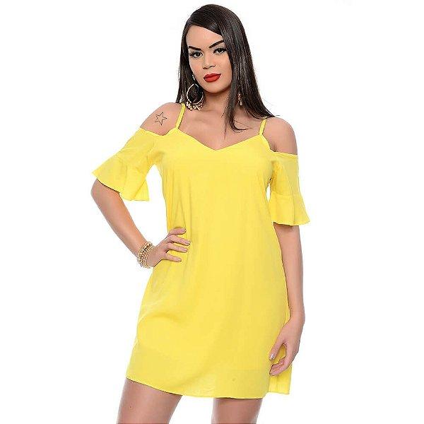 Vestido Curto Ombro Vazado Alças Finas Manga Curta com Babado B'Bonnie Amarelo