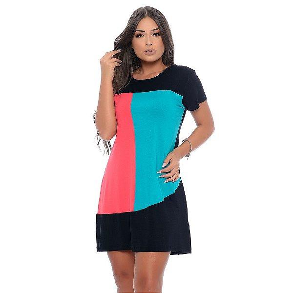 Vestido Curto Manga Curta com Recortes Assimétricos B'Bonnie Bicolor Coral