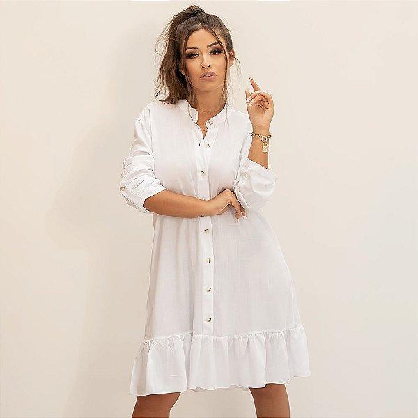 Vestido Chemise Curto Botões Manga Longa Babado na Barra B'Bonnie Branco