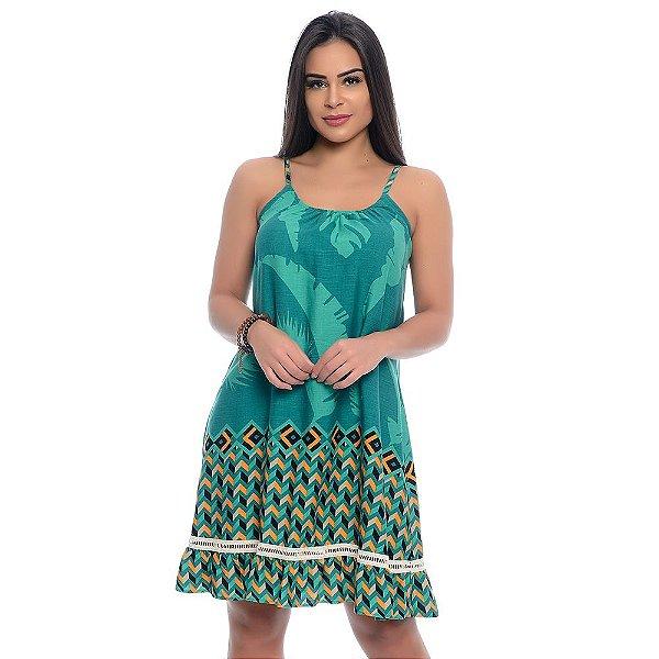 Vestido Curto Alças Reguláveis com Babado Barra B'Bonnie Geométrico Verde