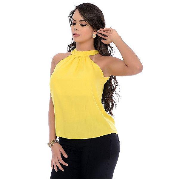 Blusa Cava Americana Gola Alta Amarração Costas B'Bonnie Amarelo