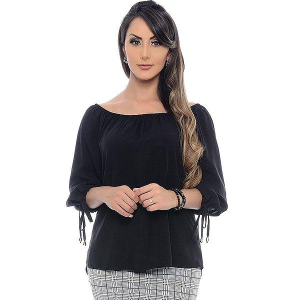 Blusa Ciganinha Manga ¾ com Abertura e Amarração B'Bonnie Preto