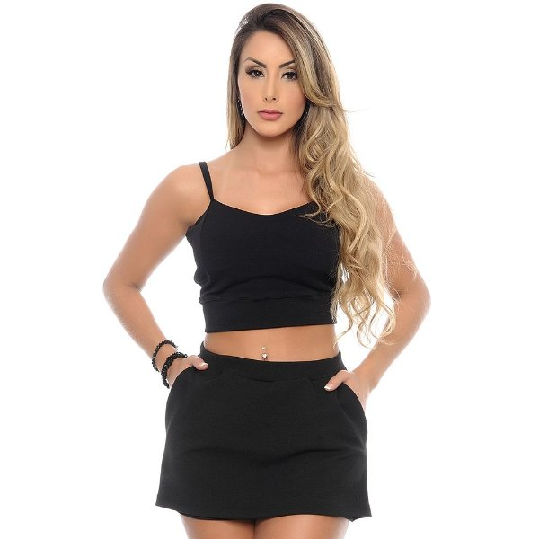 Conjunto Feminino Cropped e Shorts Saia B'Bonnie Preto