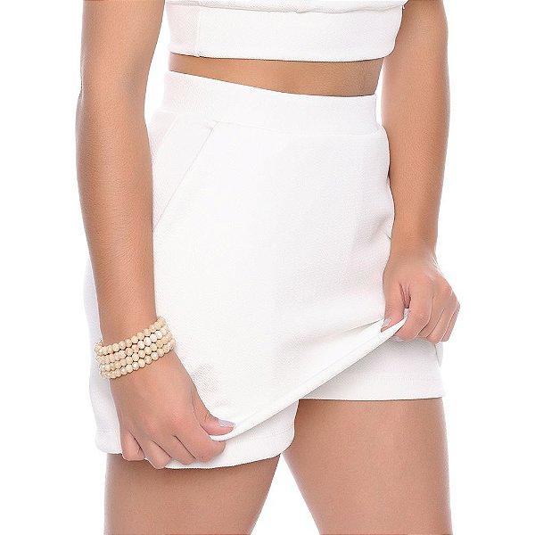 Shorts Saia Crepe com Bolsos B'Bonnie Off White