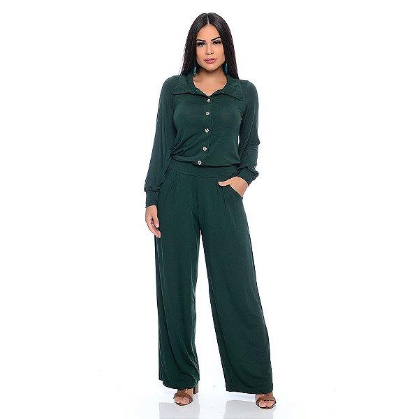 Macacão Pantalona Manga Longa com Botões Gola e Bolsos B'Bonnie Verde Militar