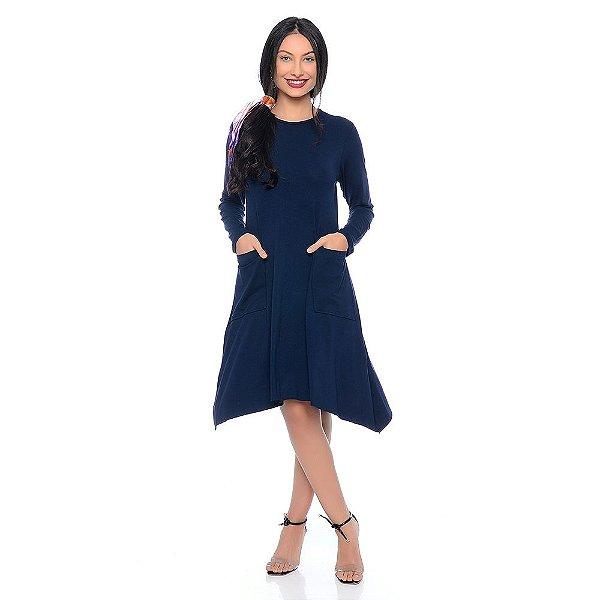 Vestido Midi Assimétrico Manga Longa com Bolsos B'Bonnie Azul Marinho