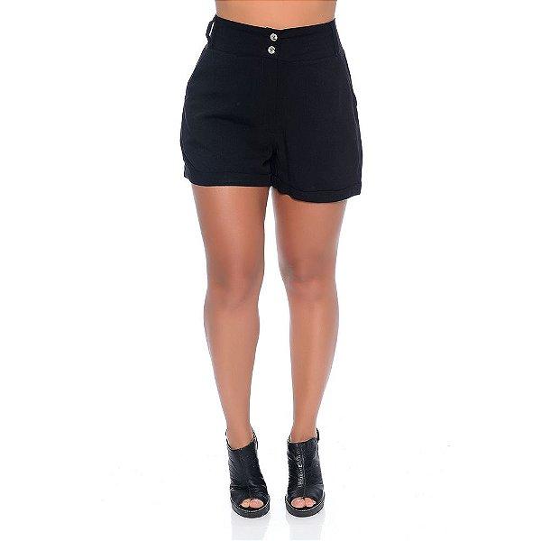 Shorts Feminino Cintura Alta Com Bolsos Barra Dobrada e Botões B'Bonnie Preto