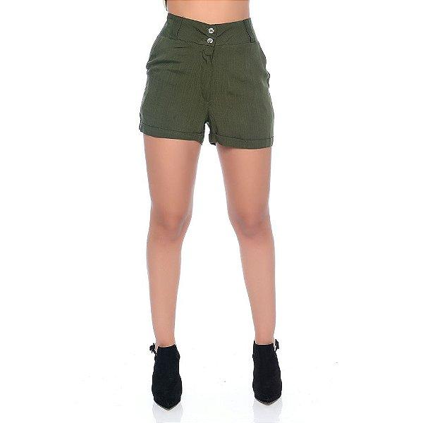 Shorts Feminino Cintura Alta Com Bolsos Barra Dobrada e Botões B'Bonnie Verde