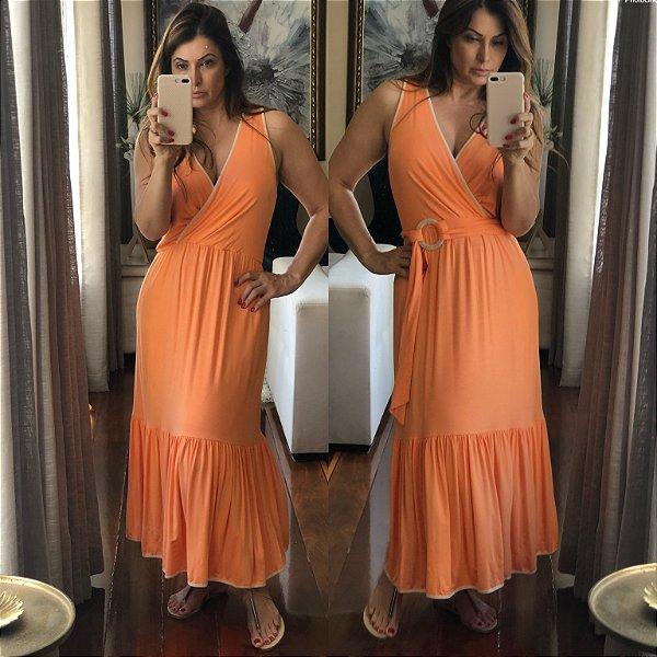 Vestido midi laranja com cinto