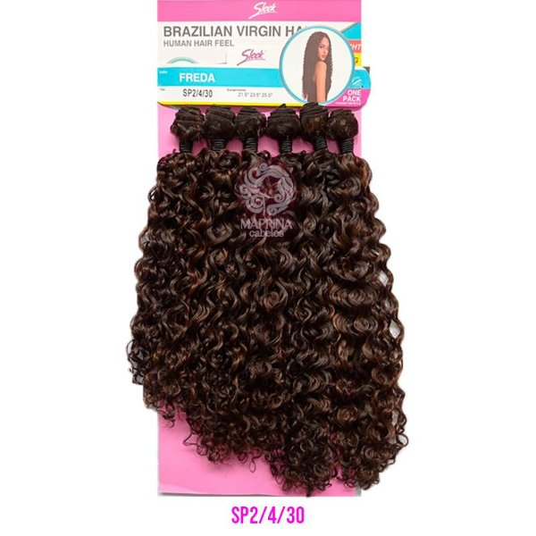 Cabelo Freda 260g - Brazilian Virgin Hair (Cor SP2/4/30 - Mesclado castanho escuro + castanho + cobreado)