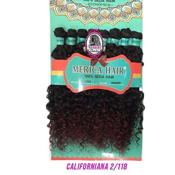 Cabelo Flora - Mérica Hair 280g  ( Cor 2/118 - Californiana -  Castanho Escuro + Acajú )