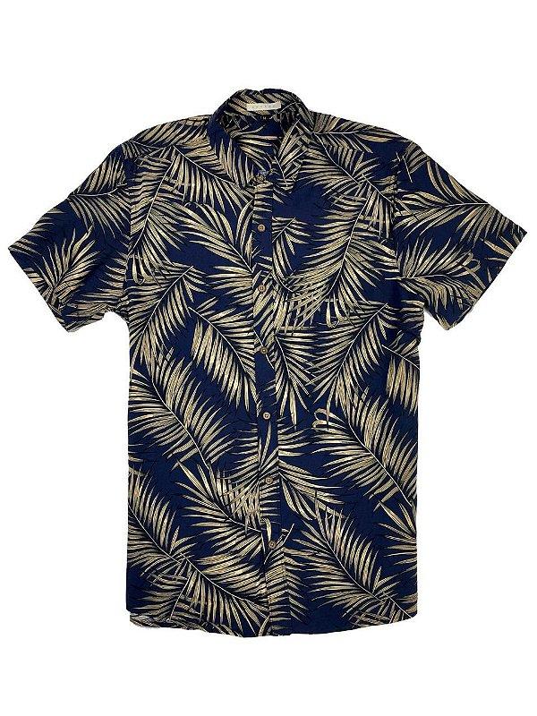 Camisa de Viscose Estampa Folhas