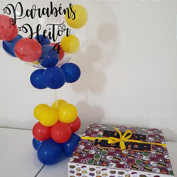 Festa na Caixa Com Tema e Balão Bubble