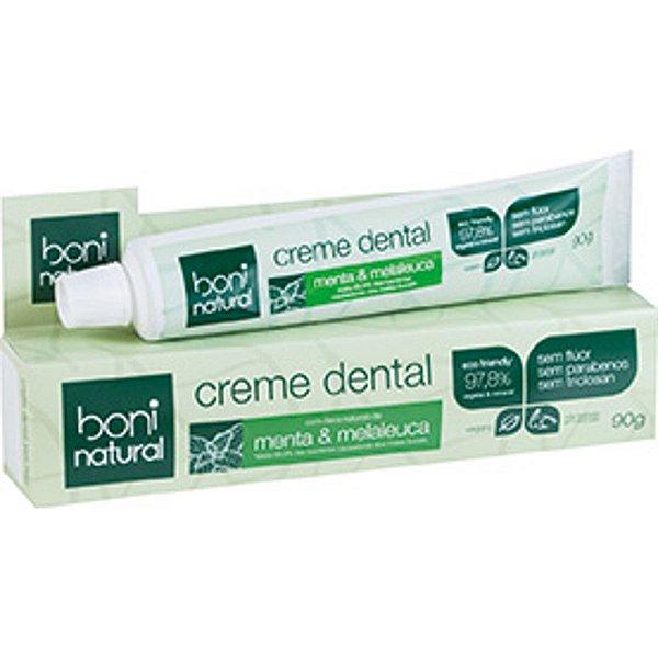 Creme Dental Boni Natural vegano sem flúor, menta e melaleuca 90g