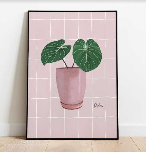 Vaso Quadriculado Rosa | Print
