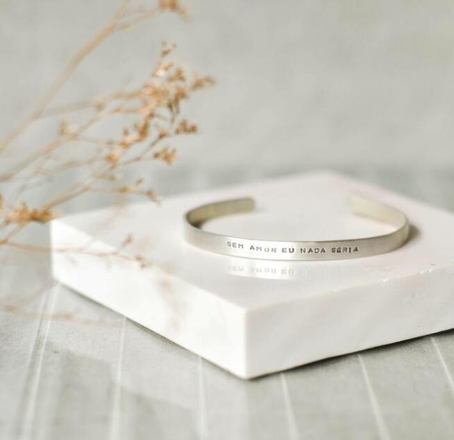 Bracelete em Prata - Sem amor eu nada seria