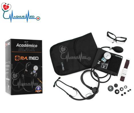 Kit Acadêmico LINHA BLACK (Esfigmo Adulto Nylon Fecho de Contato + Estetoscópio Rappaport BLACK) – P.A. MED