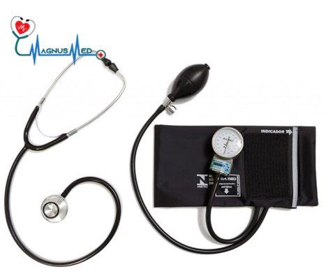 Esfigmo / Aparelho Pressão PRETO Adulto Nylon Fecho + Estetoscópio Adulto PRETO Duosson – P.A. MED