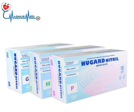 Luva Nitrílica Azul Procedimento SEM TALCO com 100 un Tamanho Médio - Nugard