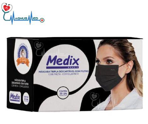 Máscara Tripla Descartável Com Filtro (BFE ≥95%) Preta - Caixa 50 un - Medix
