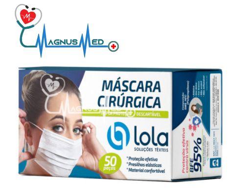 MASCARA DESCARTÁVEL TRIPLA C/ ELÁSTICO C/ 50 UN - LOLA