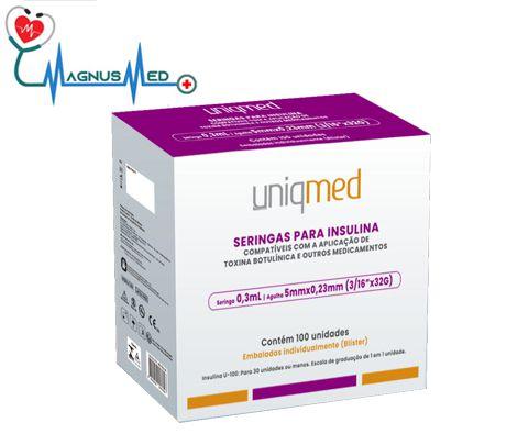 Seringas 0,3 ml 30ui 5mm x 0,23mm 32G p/ Insulina Toxina Botulínica Estética c/ 100 seringas - Uniqmed
