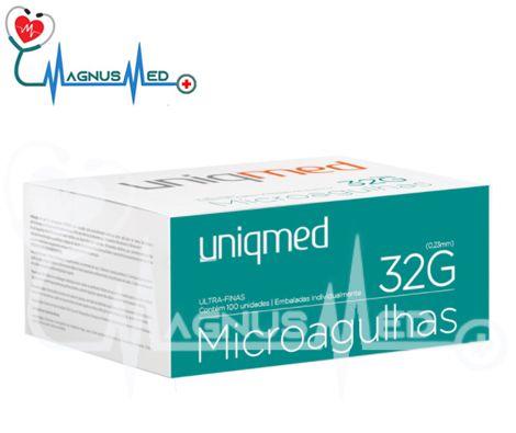 Agulha de Lebel Microagulhas 32g x 4mm caixa com 100 unidades - Uniqmed