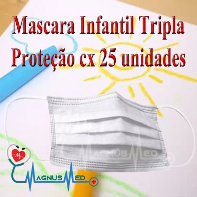MASCARA DESCARTÁVEL INFANTIL ( KIDS ) TRIPLA C/ ELÁSTICO C/ 25 UN - AR BIOTECH