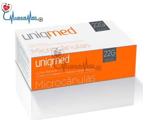 Microcânulas 22G x 50mm caixa 24 unidades - Uniqmed