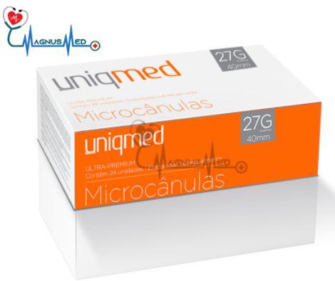 Microcânulas 27G x 40mm caixa 24 unidades - Uniqmed