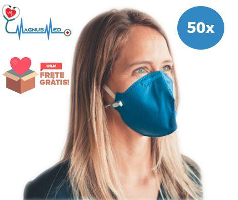 50 UN Máscara Respirador Descartável Dobrável sem Válvula N95 / PFF2 Azul - Protecface CA. 43.740