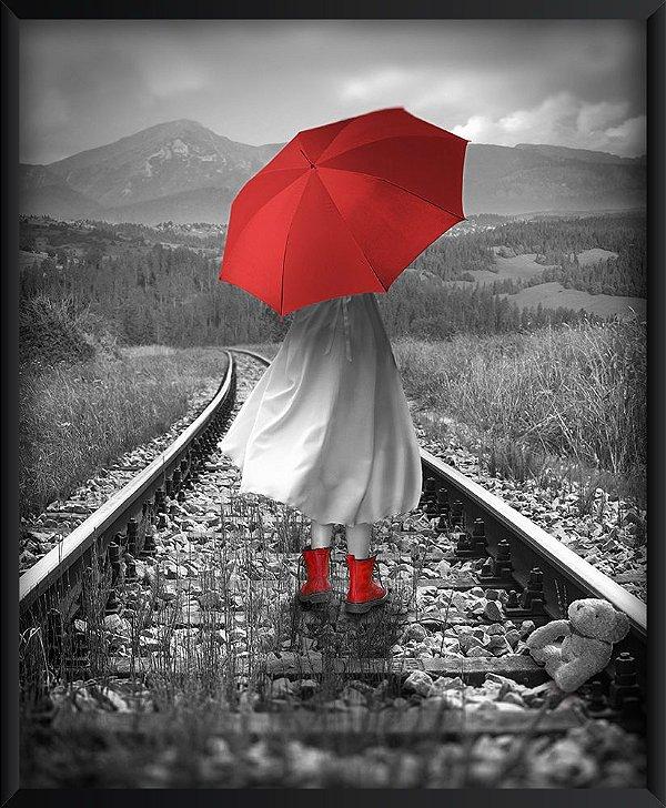Quadro Guarda Chuva e Sapatos Vermelhos