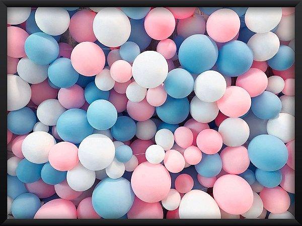 Quadro Balões Rosa, Azul e Branco