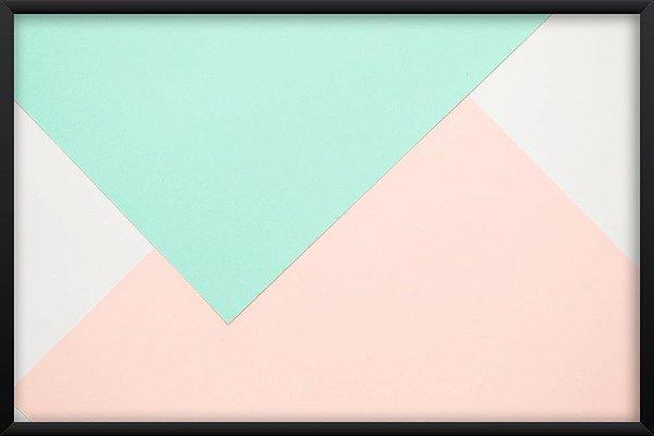 Quadro Triângulos Verde e Rosa