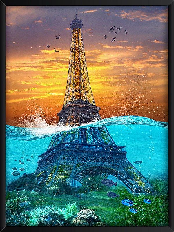 Quadro Torre Eiffel ao Mar