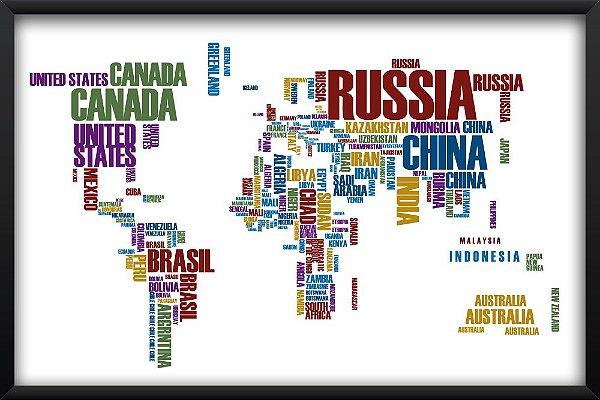 Quadro Mapa Mundi Países