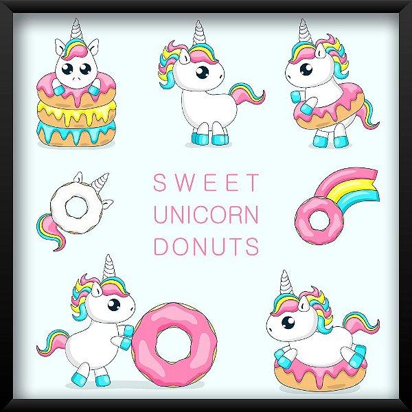 Quadro Unicórnios e Donuts