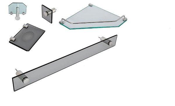 Kit Banheiro Vildrex 5 peças Luxo Incolor