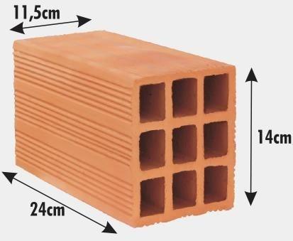 Tijolo Bloco 9 Furos 24 X 11,5 X 14cm
