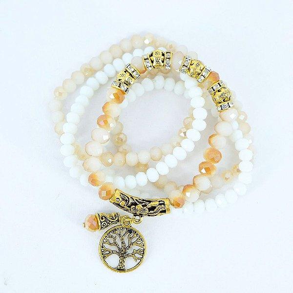 kit 5 pulseiras nude e branca