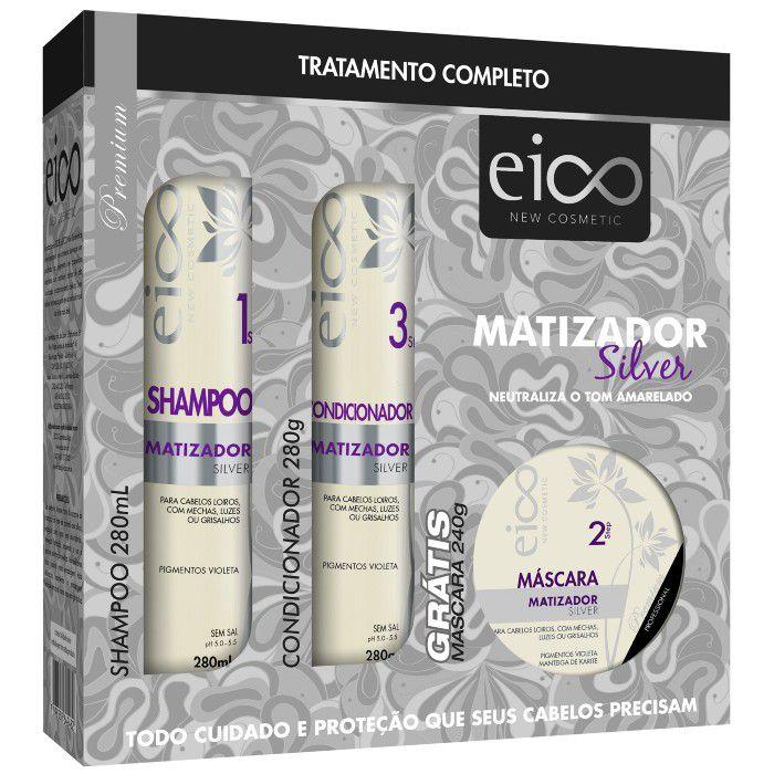 Eico Kit Matizador Silver (Shampoo + Condicionador + Máscara)