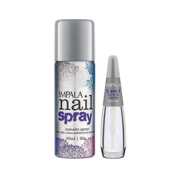 Impala KIt Nail Spray Esmalte em Spray 50ml Cinza + Base 2 em 1 verniz